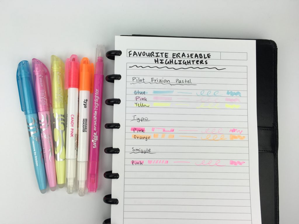 favorite erasable highlighters frixion typo smiggle planner reivew haul australia stationery rub out erase office supplies