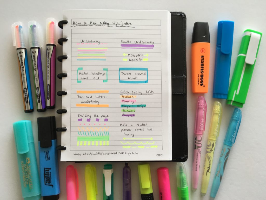 favorite highlighters for planning color coding supplies review haul pilot erasable planner supplies beetletip artline stabilo