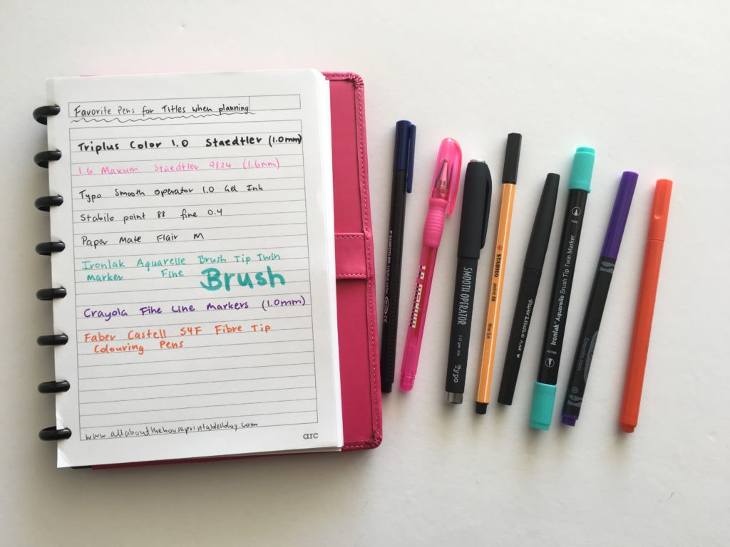 favorite pens for headings writing titles in planner color coding marker thick tip bold review planner supplies haul officeworks essential stationery