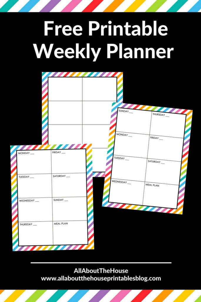 free printable weekly planner diy insert rainbow a4 a5 letter size preppy planner inspiration ideas daily cleaning meal plan