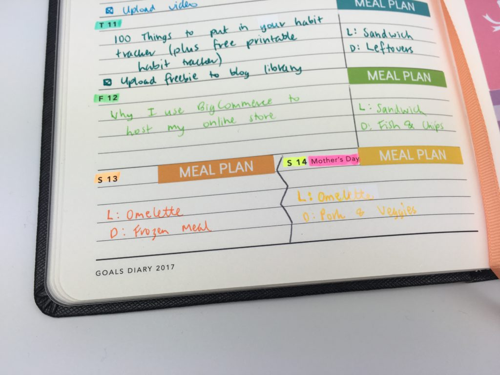 mi goals planner review inspiration ideas roundup minimalist simple weekly planner made in australia notebook bookbound color coding by day