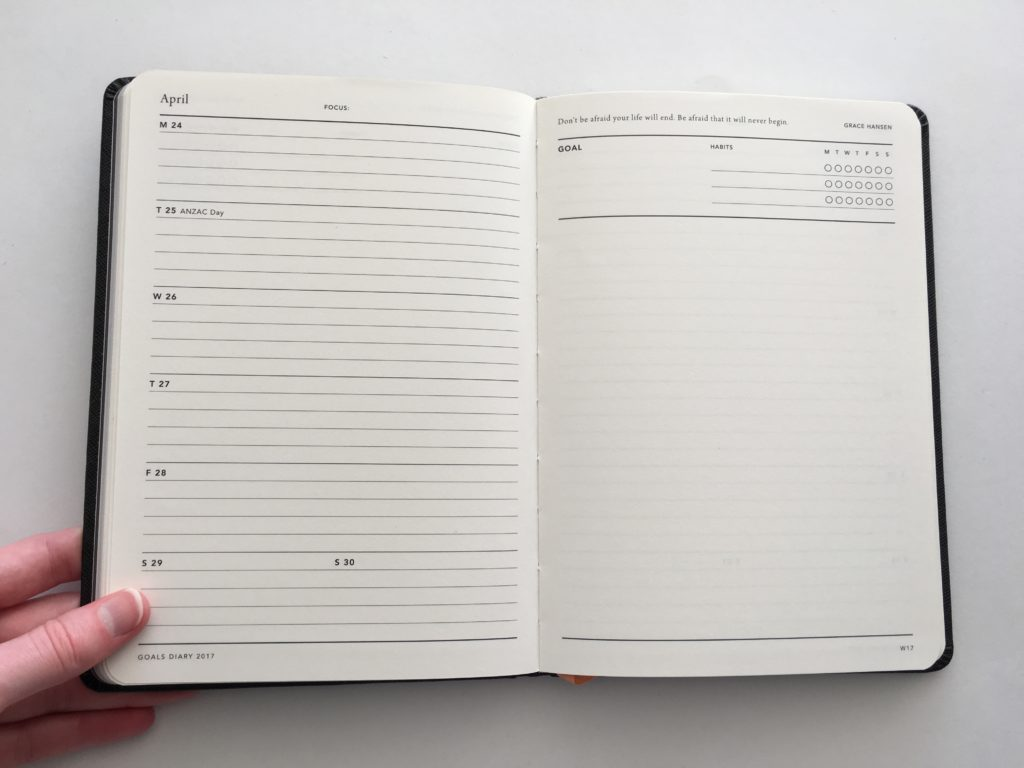 mi goals planner review planners made in australia simple minimalist black and white a5 week on 1 page monday start a5 bookbound