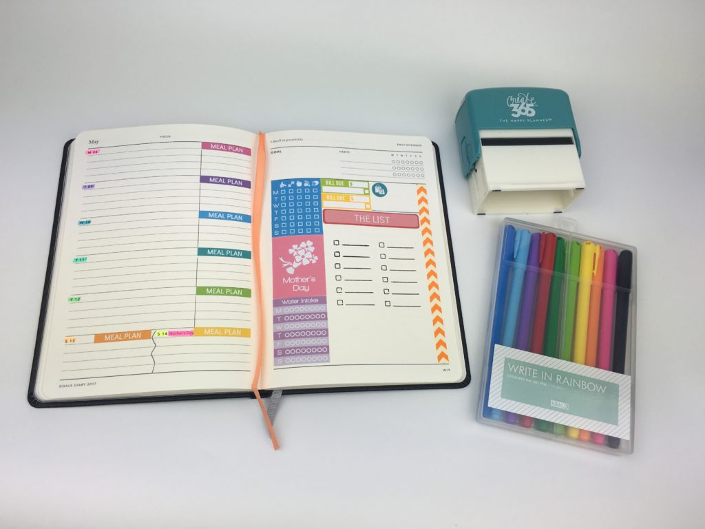 mi goals planner weekly daily color coding simple minimalist bookbound habit tracker review haul australian planner diy