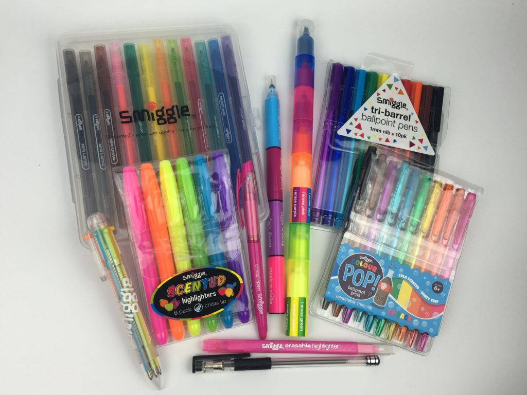 smiggle planner supplies haul review rainbow stationery scented erasable highlighters pen marker