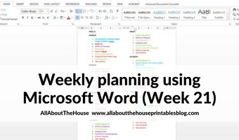 Using Microsoft Word to plan your week (52 planners in 52 weeks – week 21)