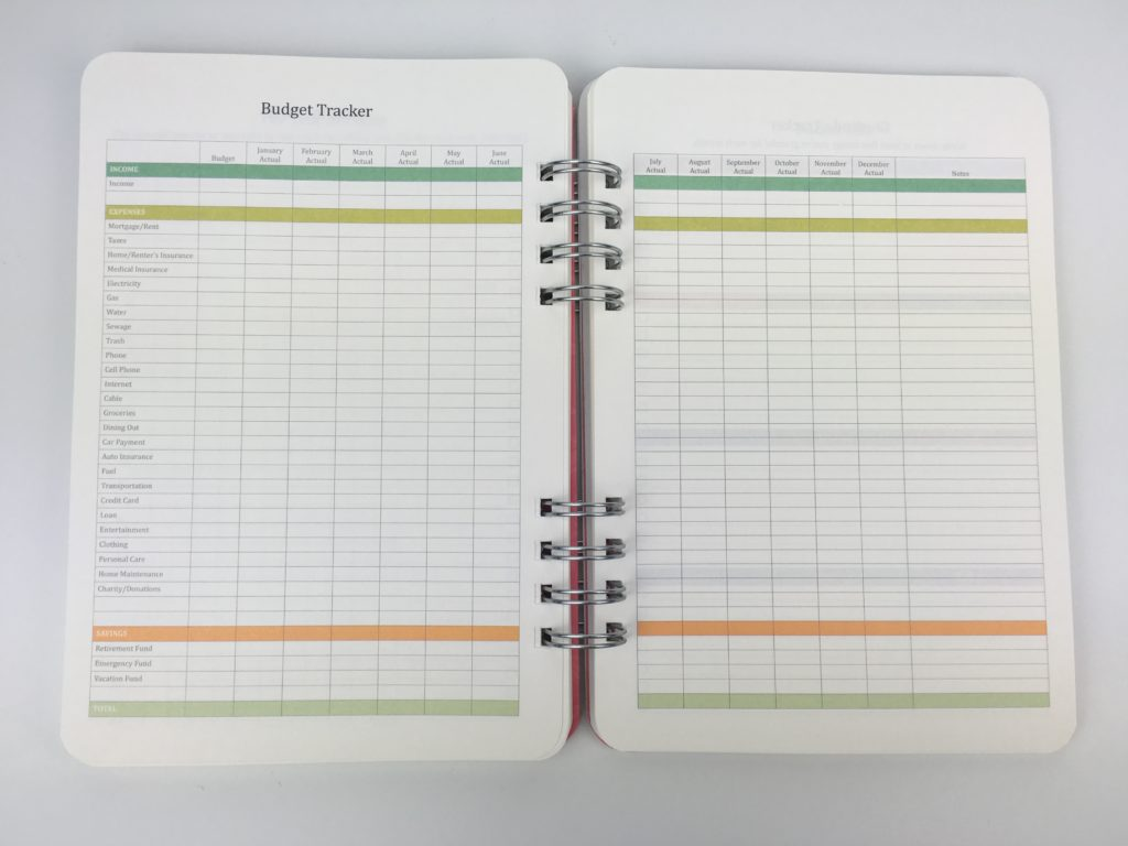 2018 budget tracker pages in the do it al planner by orange circle studio review