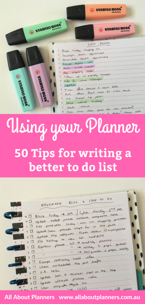 50 tips for writing a better to do list effective weekly planner tips inspiration using your agenda diary organizer newbie