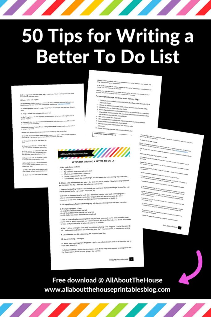 50 tips for writing a better to do list productivity time management organization planning get stuff done beat procrastination
