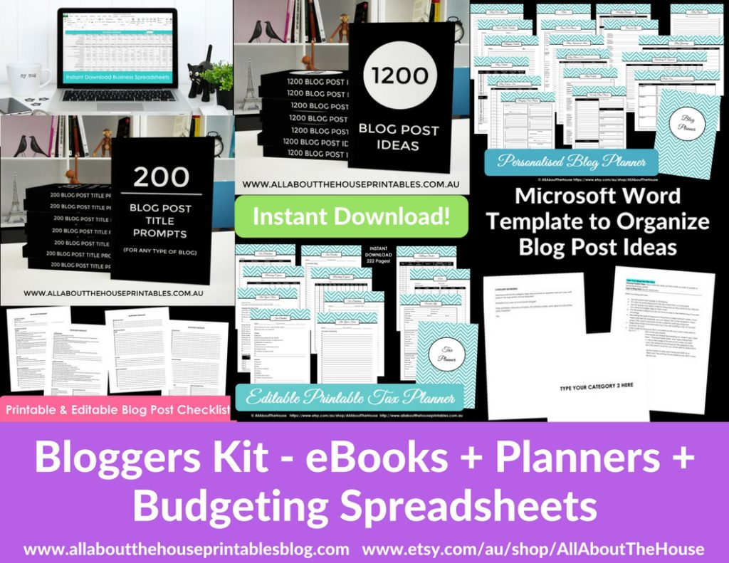 Blog planner printable planning editable pdf template worksheet workflow how to organize business tax checklist diy