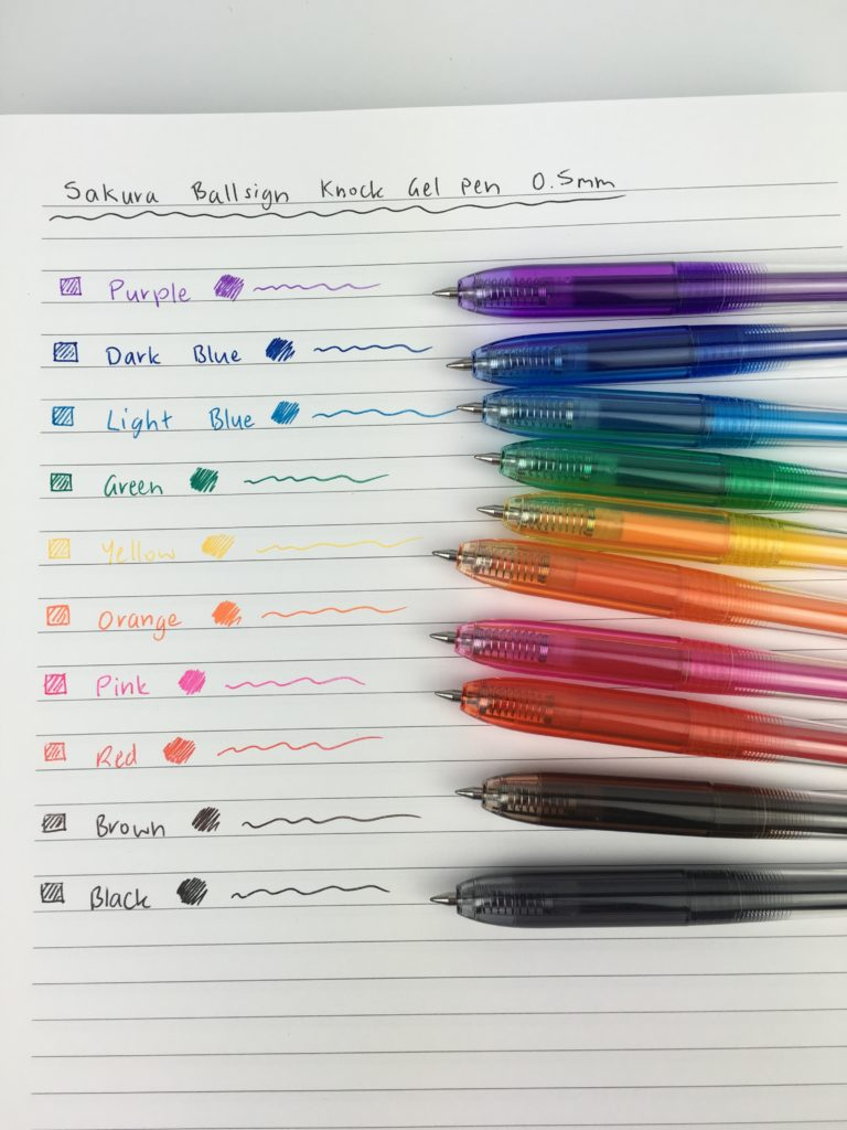 Sakura ballsign pen review swatch testing rainbow color coding planner supplies ballpoint pens versus gel pens fine tip cheaper alternative to papermate inkjoy jet pens haul