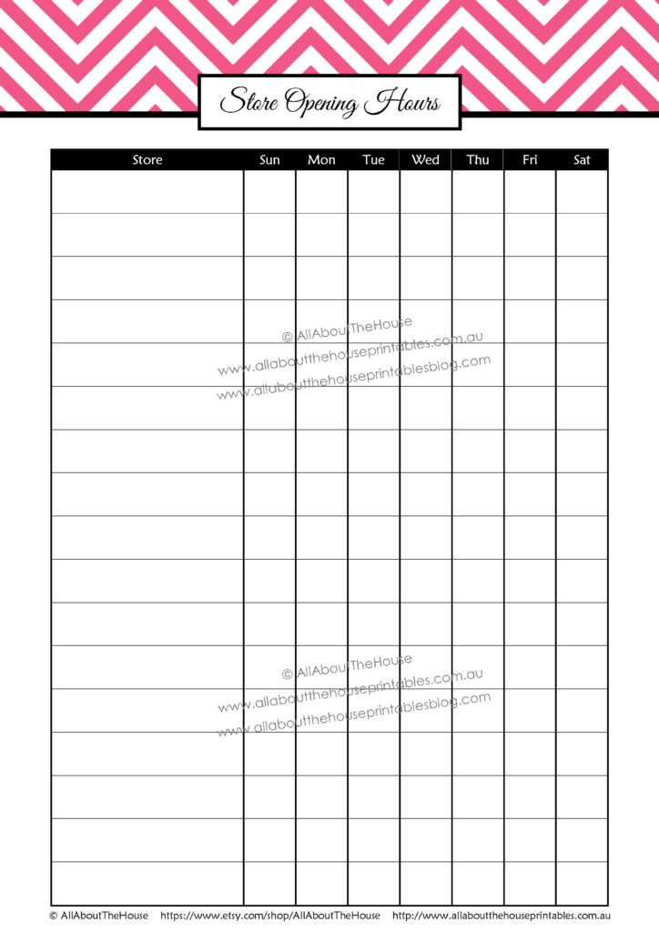 Store Opening Hours tracker printable shopping planner organizer how to save money couponing binder pdf editable password log template worksheet pdf download