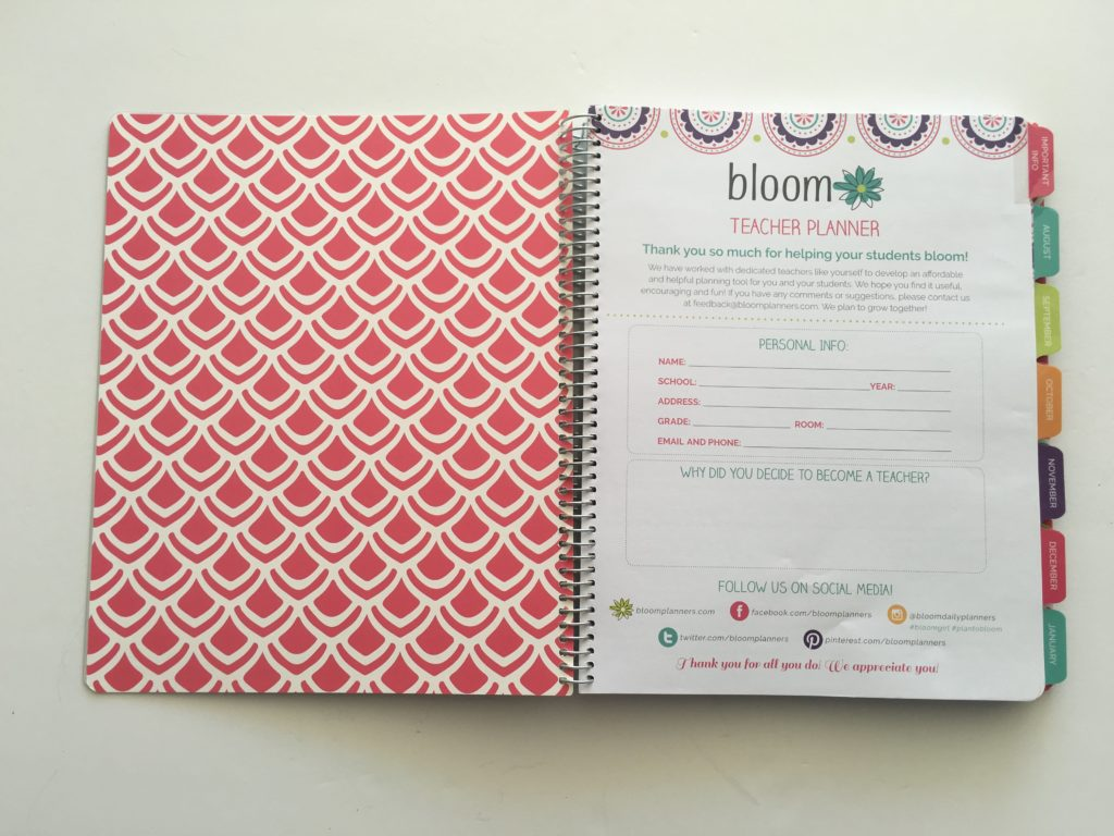 bloom teacher planner review pros and cons look inside cheaper alternative to erin condren school lesson plan attendance record undated-min