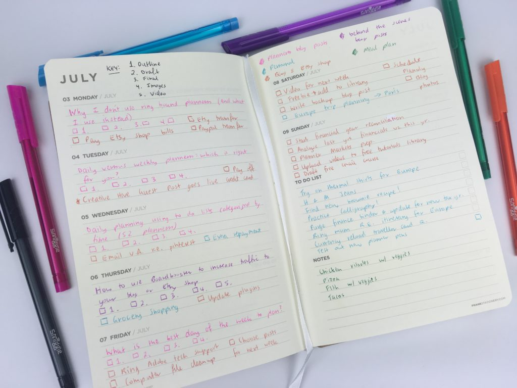 Using The Frank Horizontal Weekly Planner Planners In Weeks - Productivity planner review