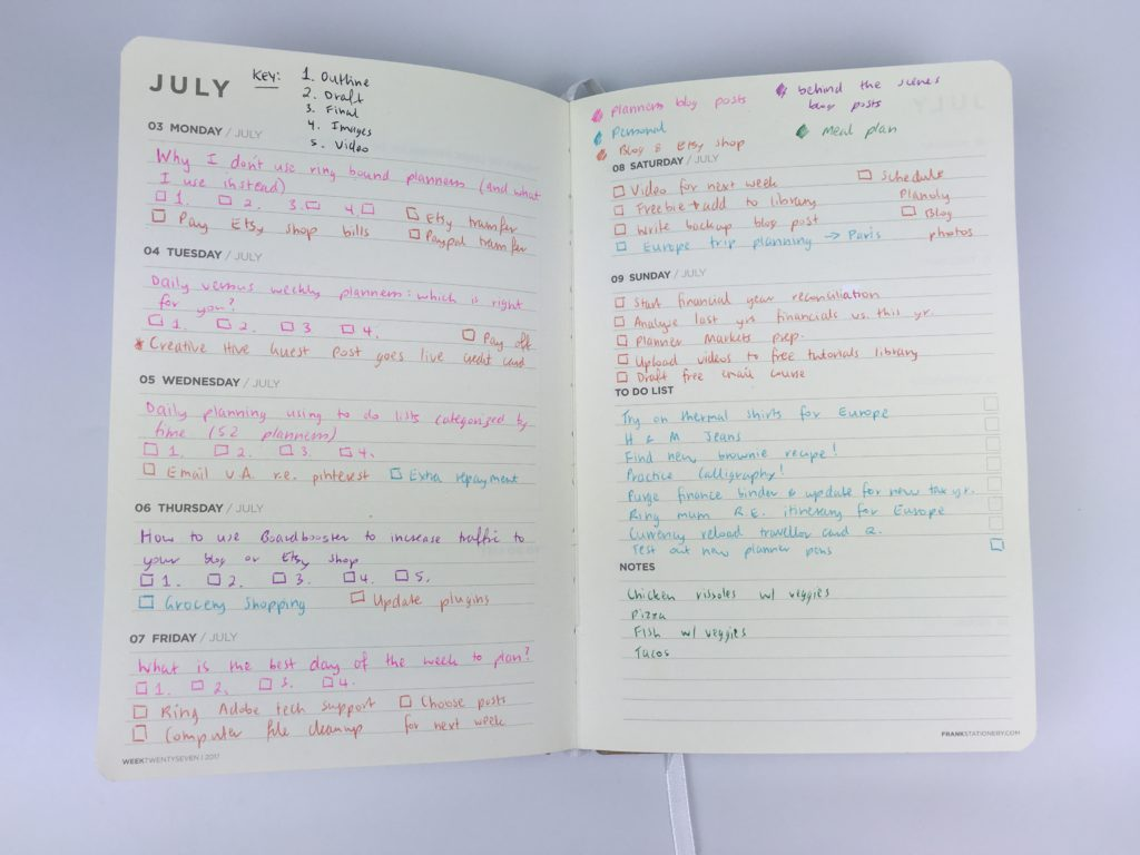 frank weekly planner review pros and cons alternative to traditional bullet journalling blog planning simple minimalist weekly spread plan with me