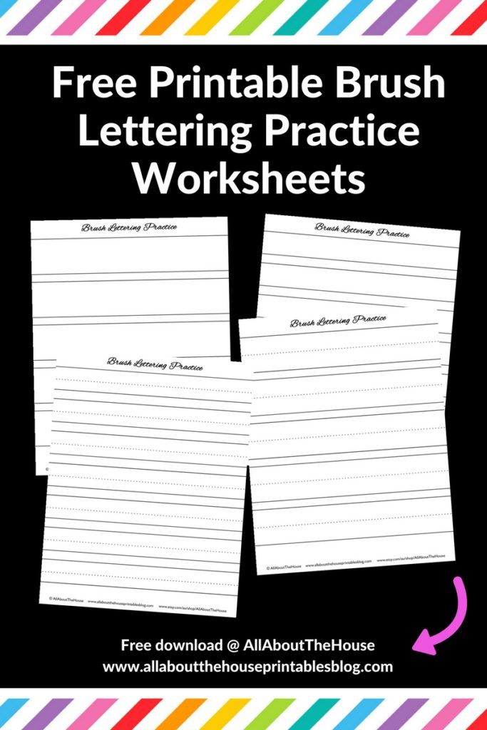 free printable brush lettering practice worksheets calligraphy tombow lined download diy connections handwriting handlettering