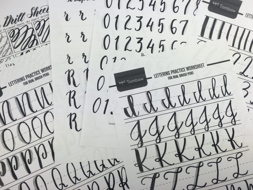 Practicing calligraphy: free printable brush lettering worksheets