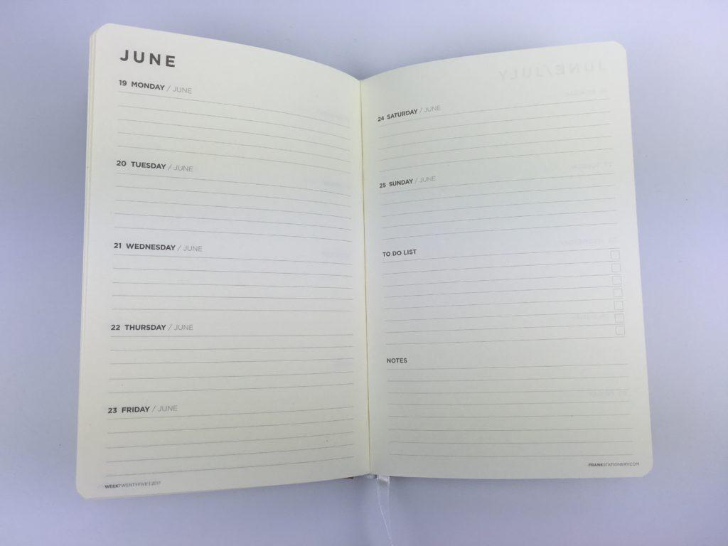 horizontal week on 2 pages planner a5 simple minimalist checklist list maker monday start