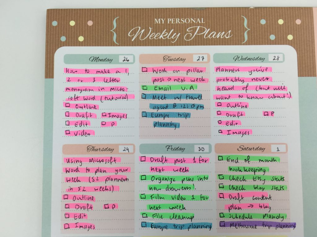 how to color code your planner for blogging workflow tasks routine habit tracker highlighting pros and cons weekly planning notepad