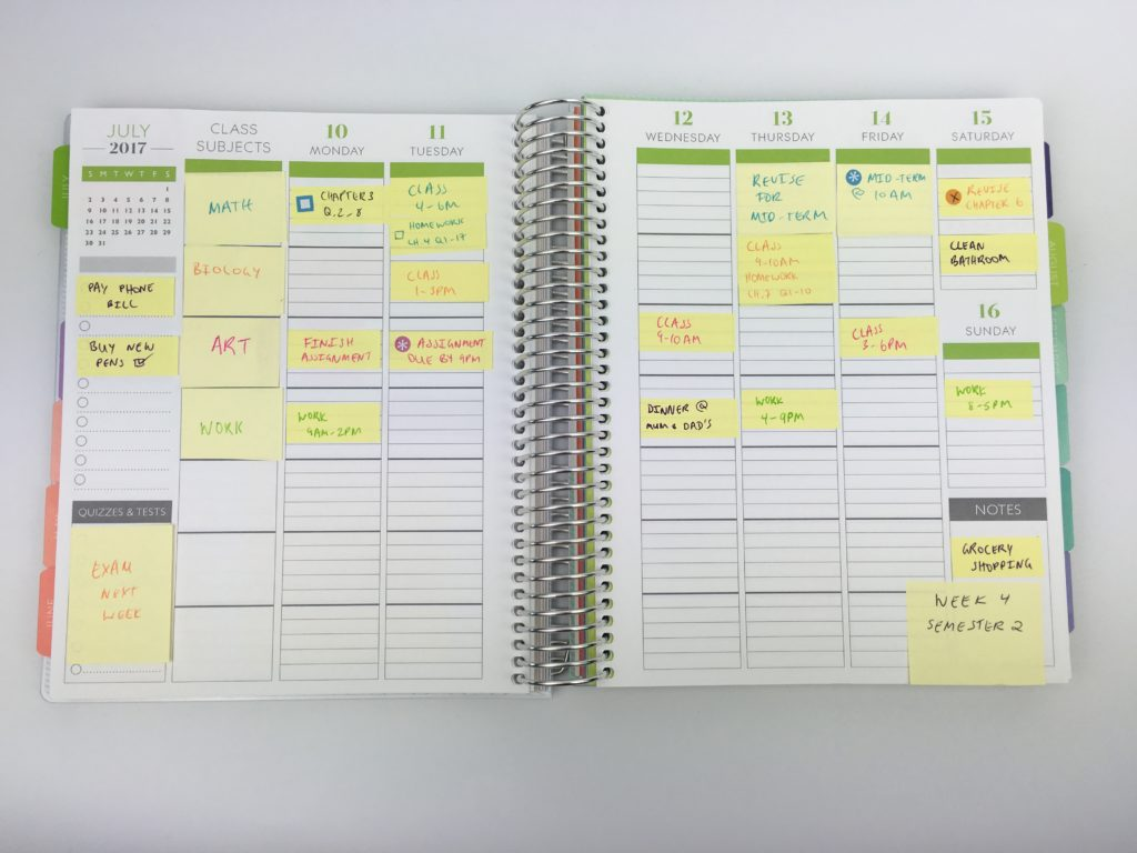 how to set up your planner for school color coding weekly planner spread ideas inspiration plum paper student planner sticky notes diy