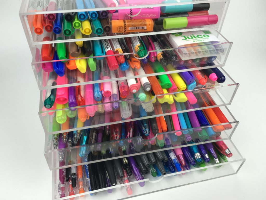 how to store planner pens using acrylic drawers ebay office stationery storage ideas inspiration tips planner addict favorite pens for color coding-min