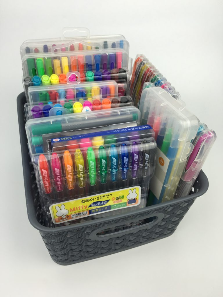 how to store planner pens using basket office stationery storage ideas inspiration tips planner addict favorite pens for color coding