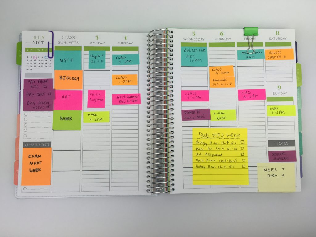 how to use post it notes to organize your planner for school sticky notes class schedule college university tips hacks planning time study inspiration ideas