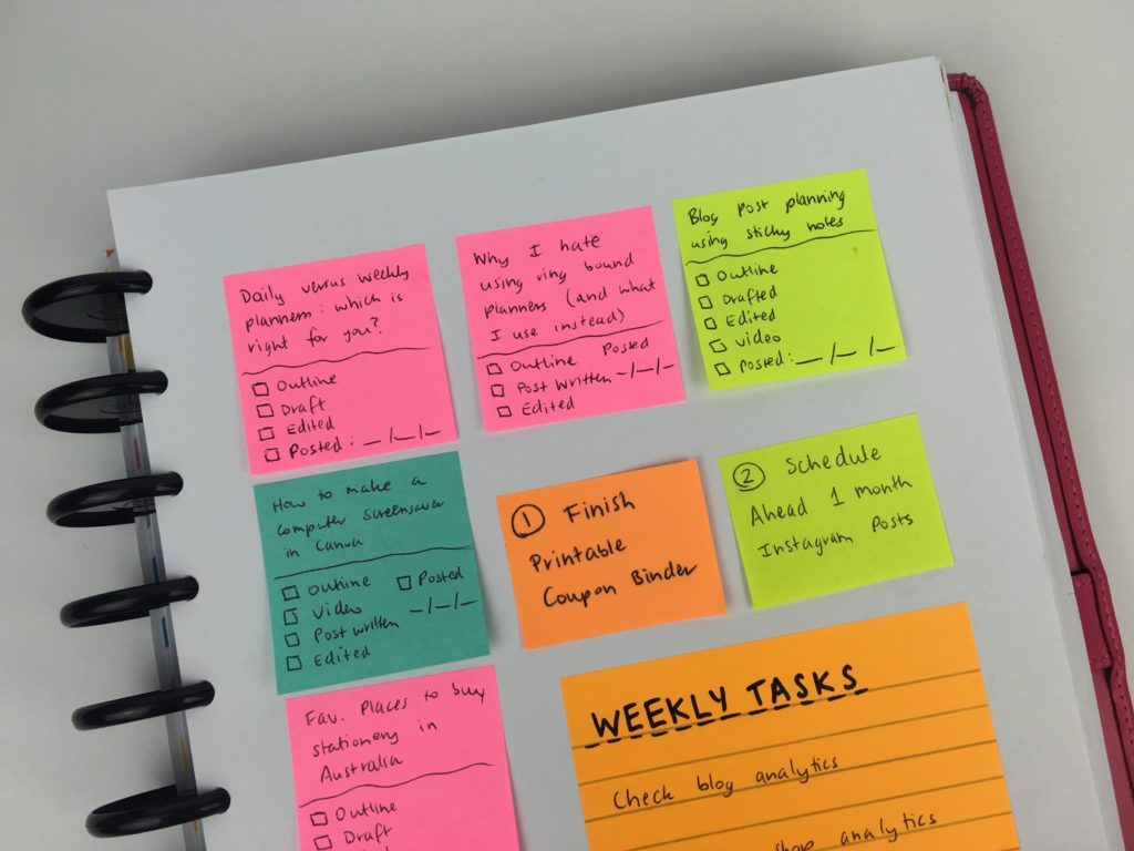 how to use sticky notes for planning ideas inspiration tips color coding blog planning arc planner diy spread colorful alternative to traditional planner flexible-min