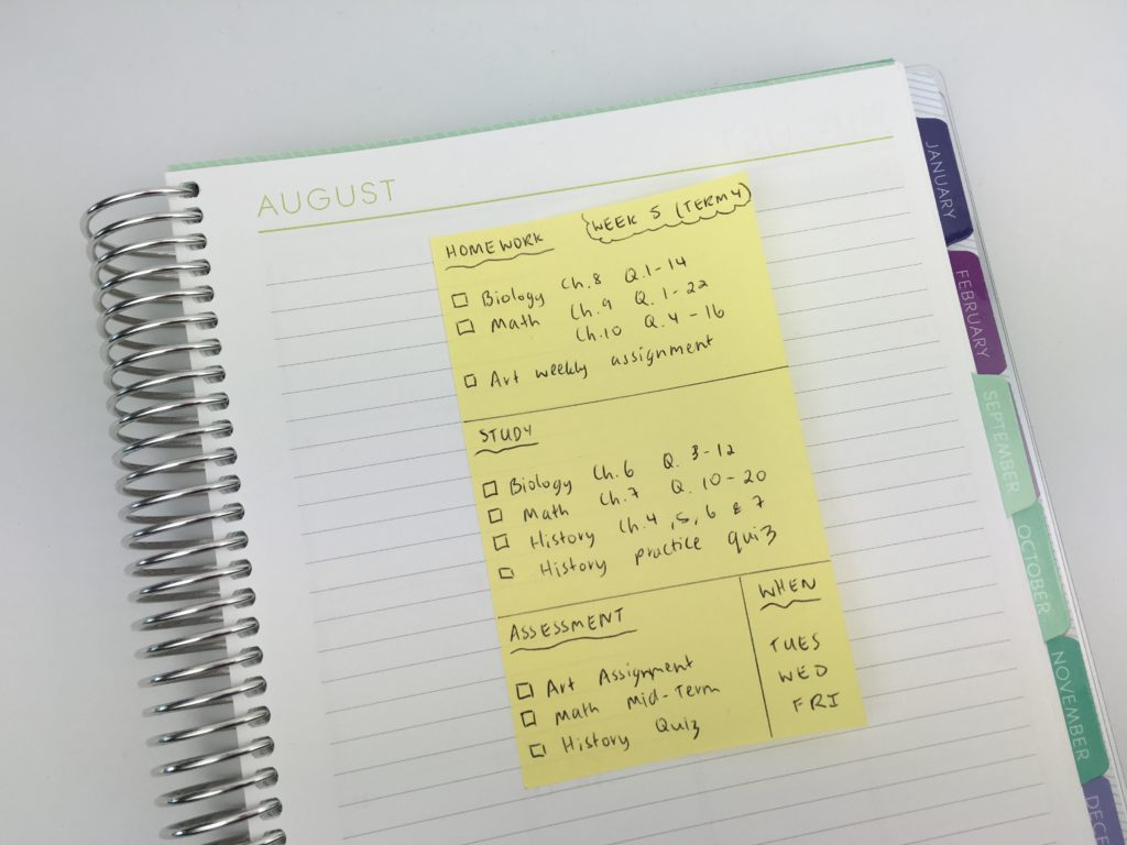 how to use sticky notes for school organizing planner for college academic homework study assessment time management productivity