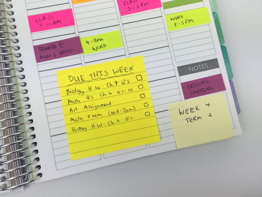 how to use sticky notes for school planner organization color coding tips easy set up a new planner diy weekly spread homework college university