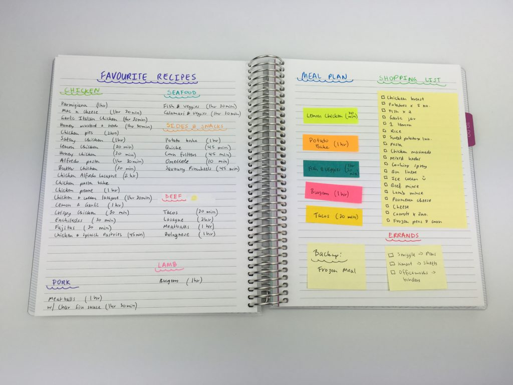 how to use sticky notes for weekly meal planning color coding cooking planner ideas inspiration hacks tips organization using empty notebook