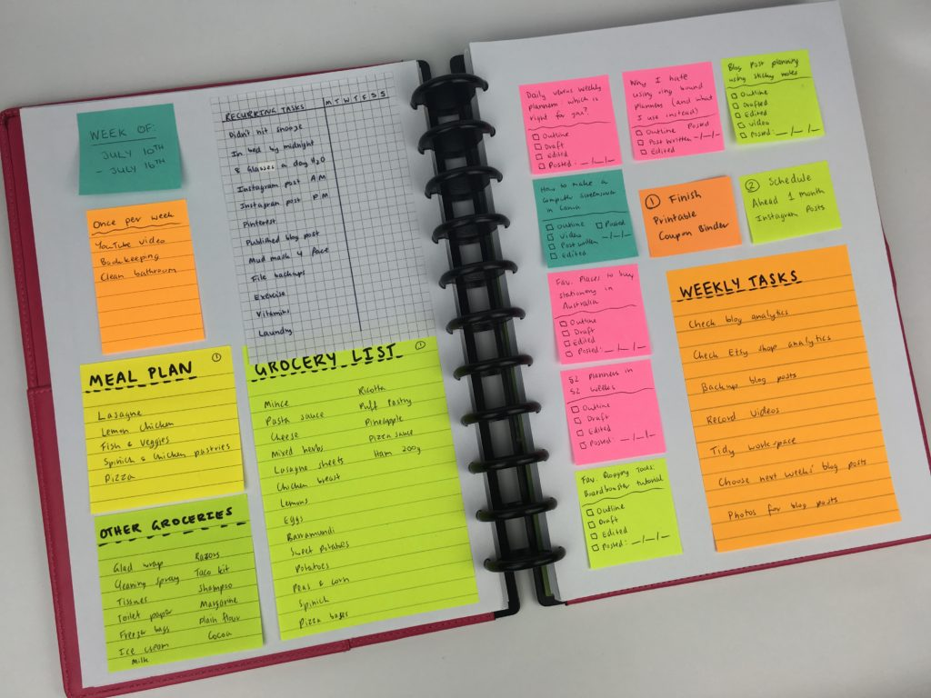 how to use sticky notes for weekly planning spread ideas plan with me color coding recurring tasks bill blog post content planning post it note creative inspiration