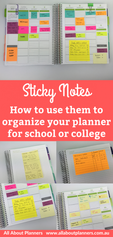 how to use sticky notes to organize your planner for school college university tips inspiration ideas newbie best sticky note brands uses for post it note 3m color code subjects