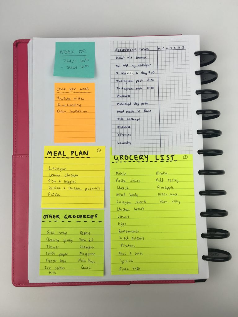 planner inspiration ideas weekly layout spread color coding habit tracker organization meal planning recurring tasks productivity diy arc-min
