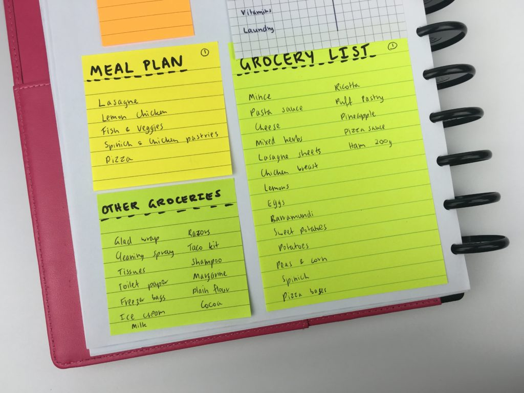 using sticky notes sfor meal planning grocery list coding quickly easy ready made planning ideas inspiration favorite tools supplies-min