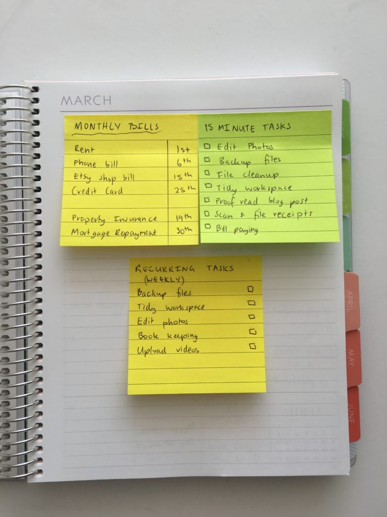 using sticky notes for planning reminders reucrring tasks don't forget routine habit tracking ideas inspiration tips planner spread