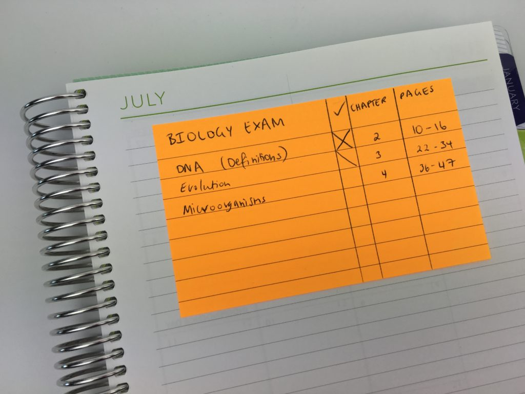 using sticky notes for school study homework tracker tips organization college university productivity efficient time management set up a new planner planning ideas