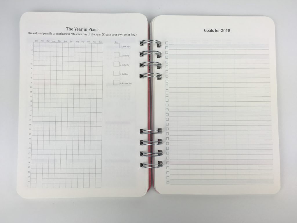 year in pixels 2018 goals page planner insert do it al planner review orange circle studio