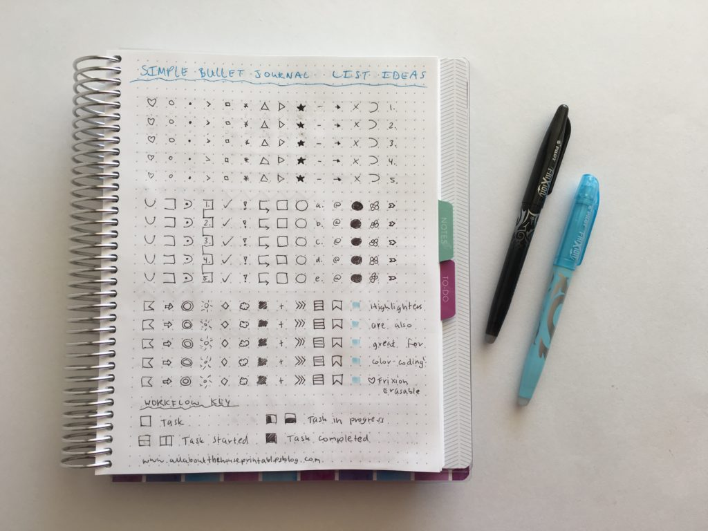 bullet journal list ideas inspiration layout tips tricks hacks organized to do list color coding symbol