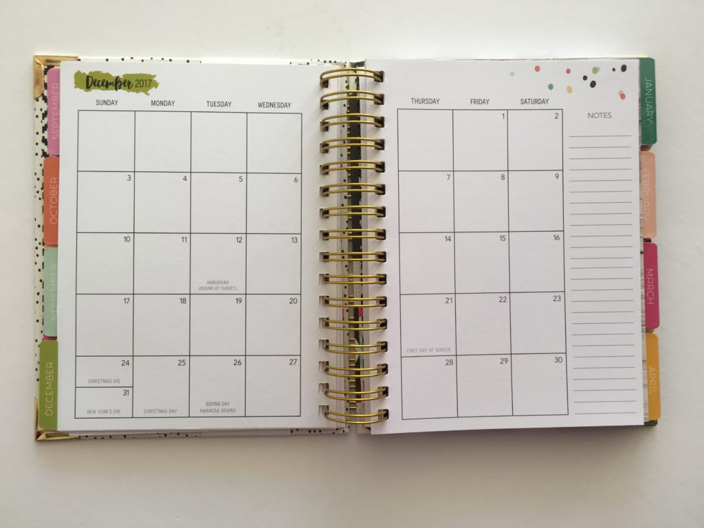 carpe diem planner 2018 review a5 spiral bound simple minimalist colorful sunday monday 2 page notes sidebar cheaper alternative to erin condren blogging