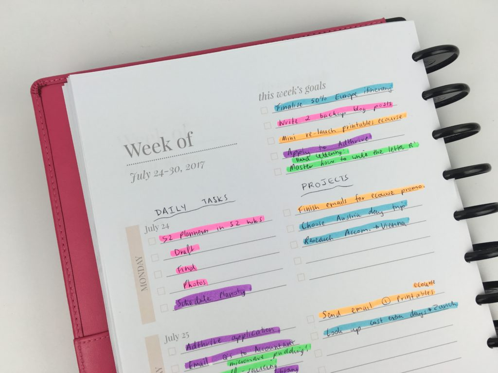 goal digger planner review weekly spread 2 page horizontal alternative to bullet jouralling discbound planner arc system color coding highlighters