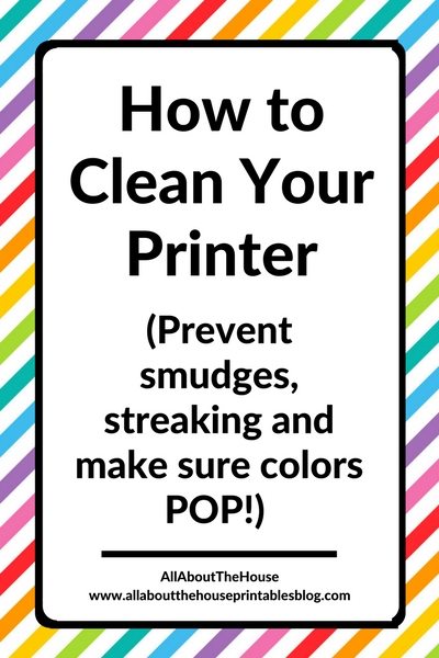 how to clean your printer menu options setting nozzle head alignment prevent smudge fix stains streaking ink splatter canon diy