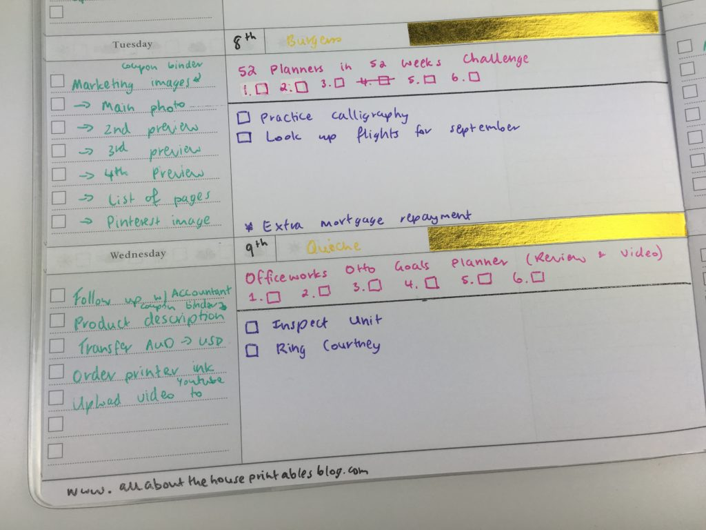 how to plan your week save space in your planner customise weekly spread favorite gel pens checklist organization