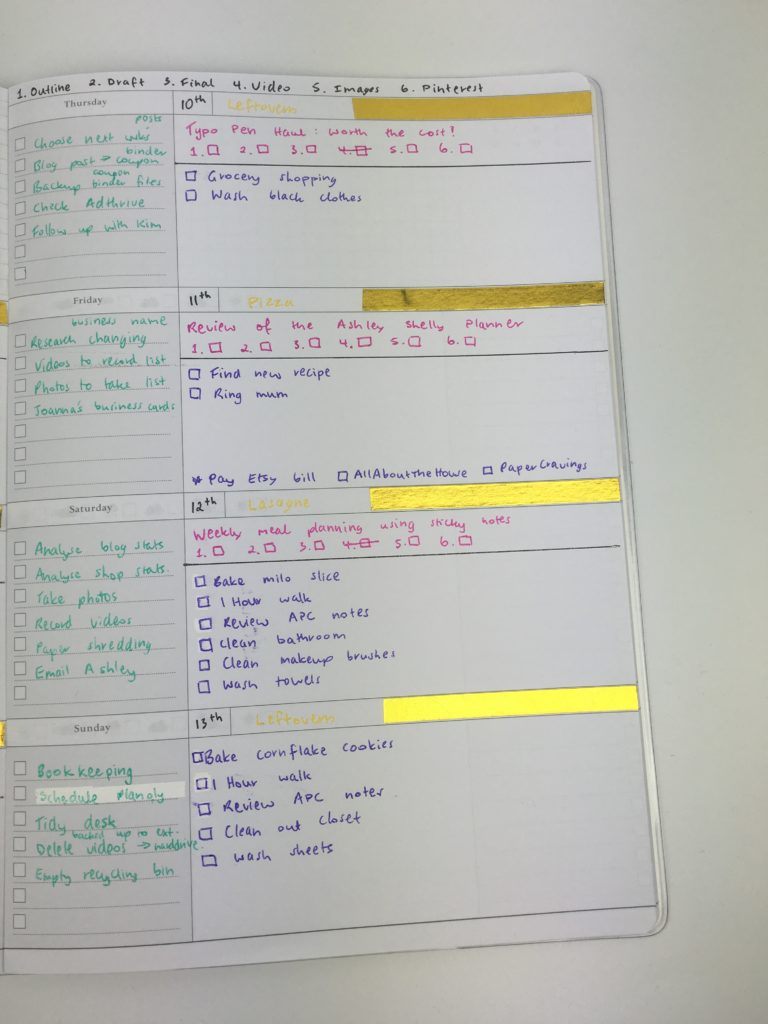 Using an undated officeworks a4 horizontal planner 52 for Color coding planner