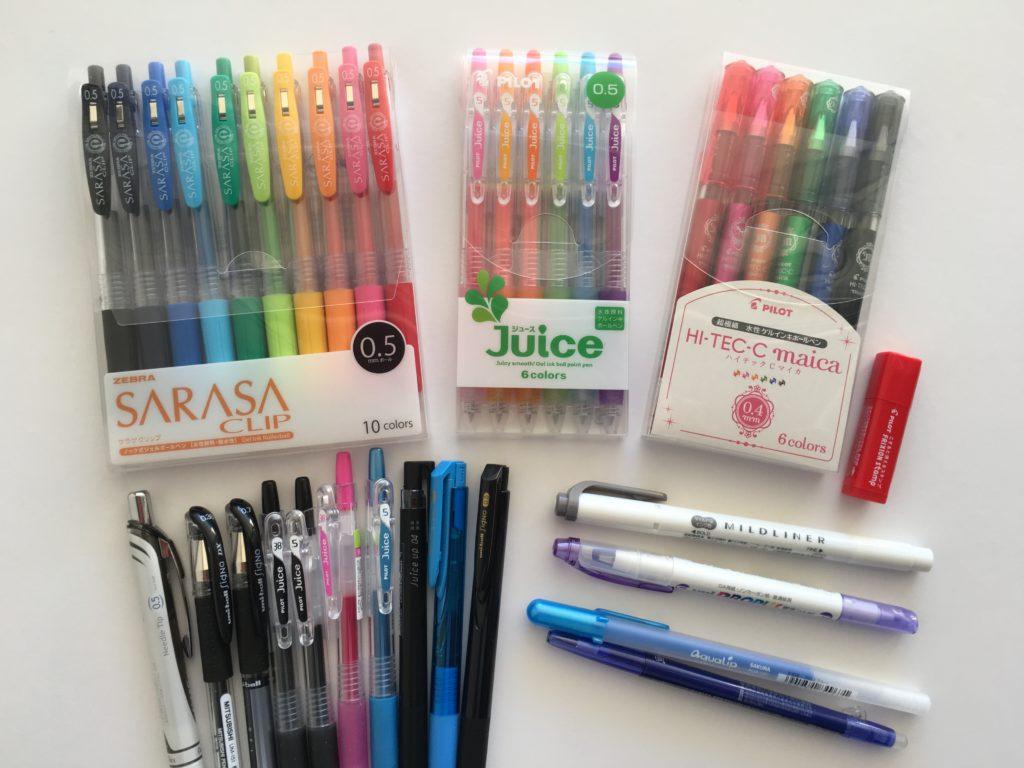pen haul planner addict favorite planning supplies color coding pens gel ballpoint australia review midliner highlighter no smudge rainbow pilot sarasa zebra