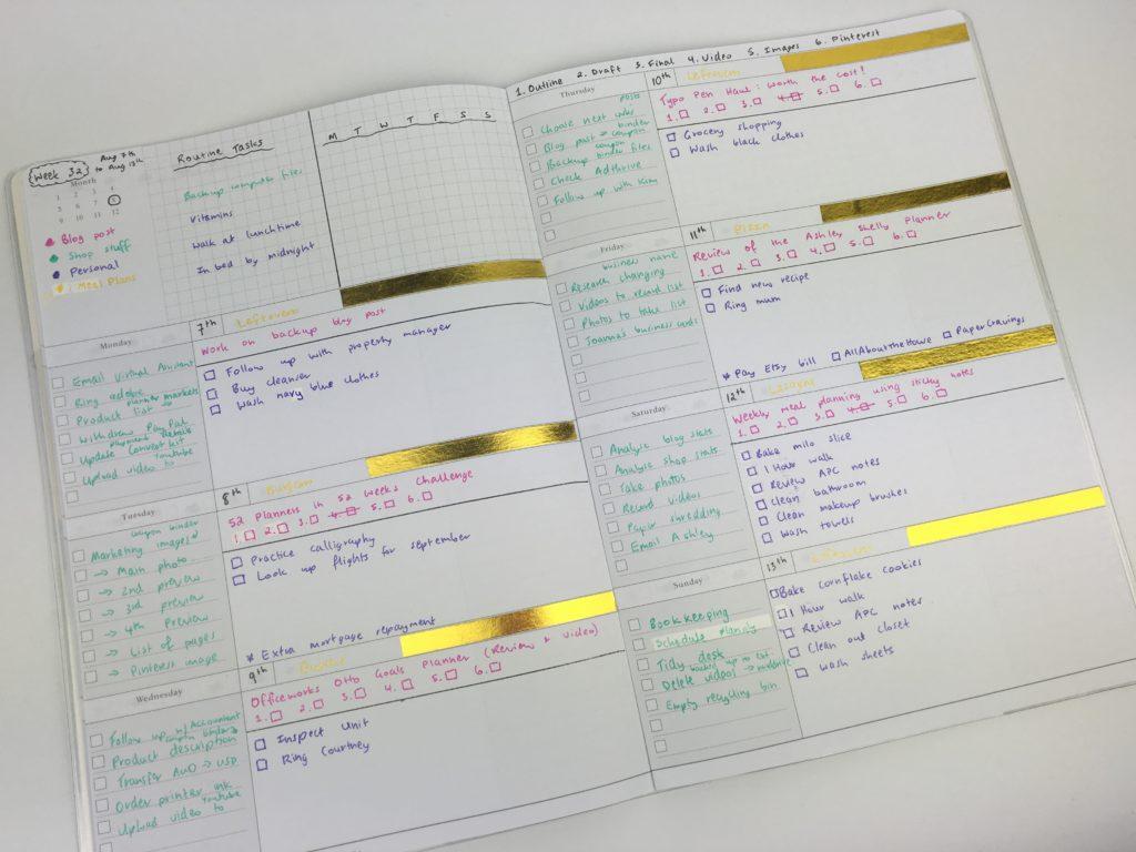 planner challenge minimalist color coding washi tape decorating ideas inpiration horizontal layout officeworks planner