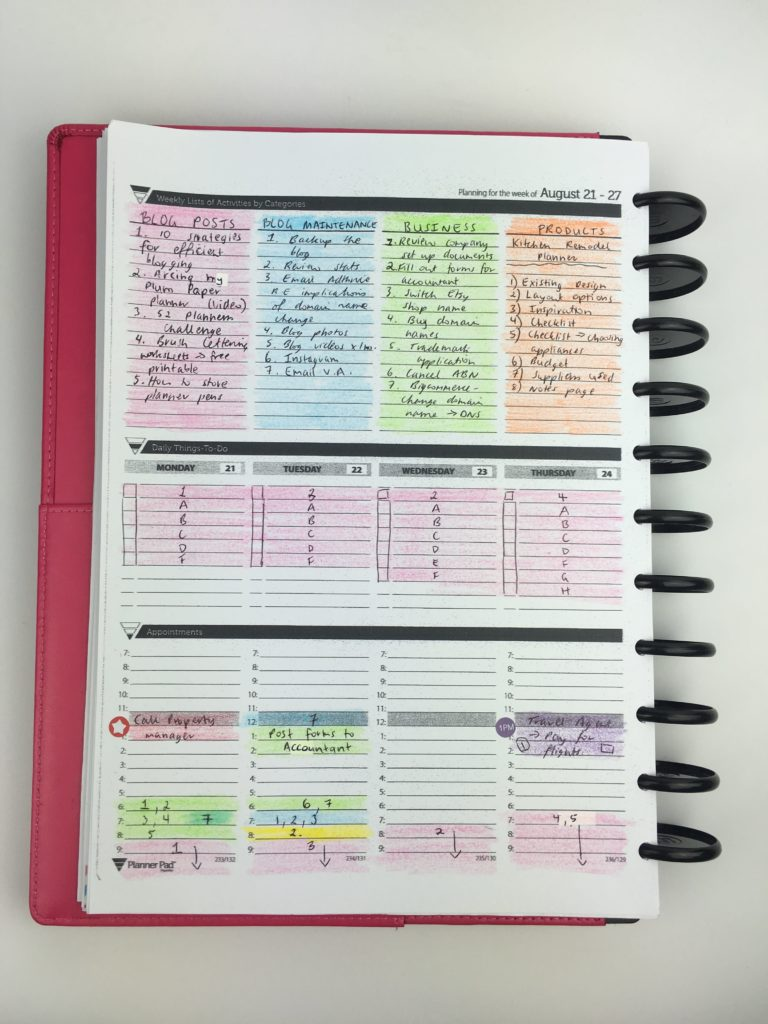 Review of the planner pad weekly planner week 34 of the for Color coding planner