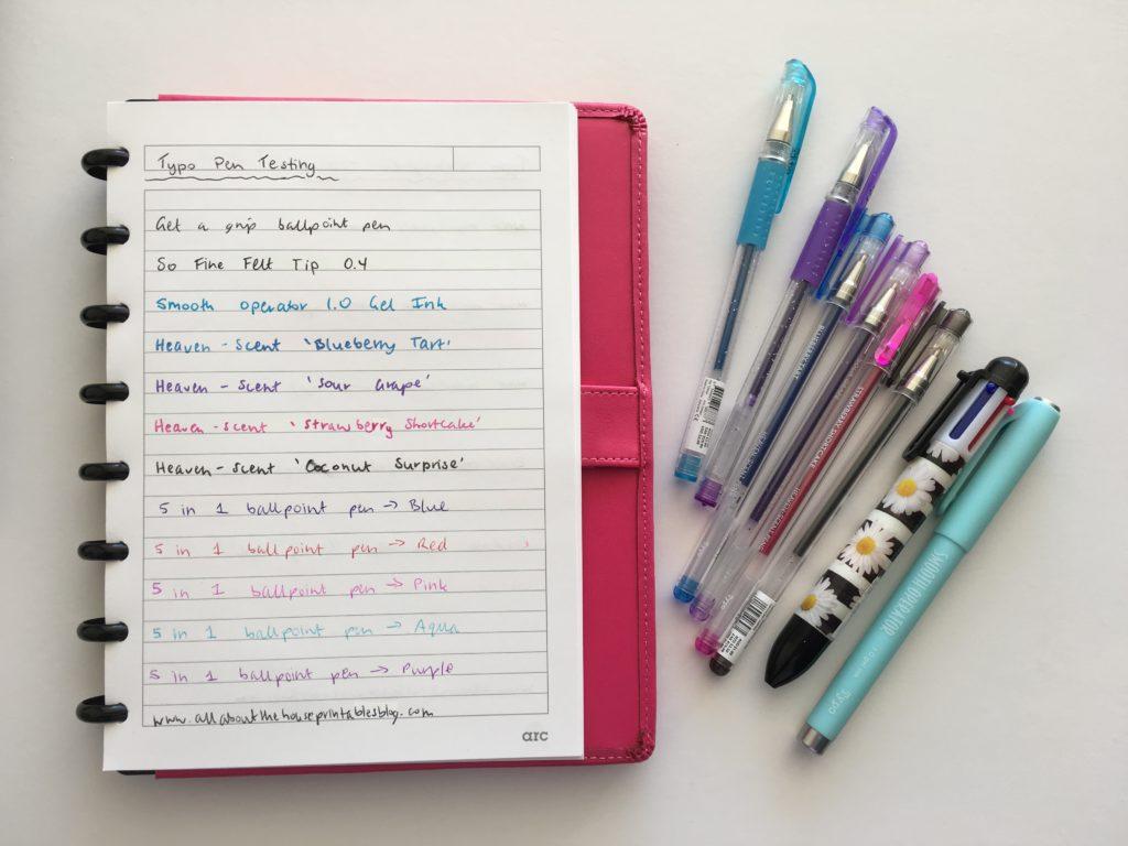 typo pen haul testing comparison favorite planning supplies review color coding gel ballpoint fine tip no smudge erasable multi color retractable australia