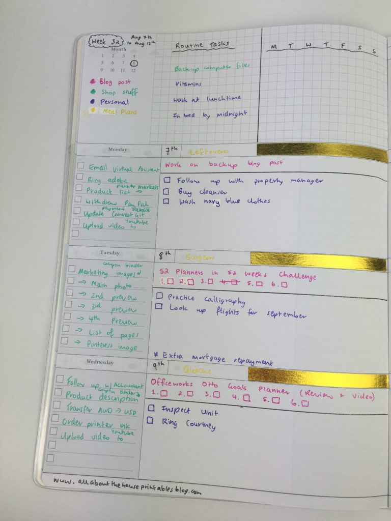weekly planner spread ideas inspiration horizontal checklist washi tape functional simple diy customised color coding