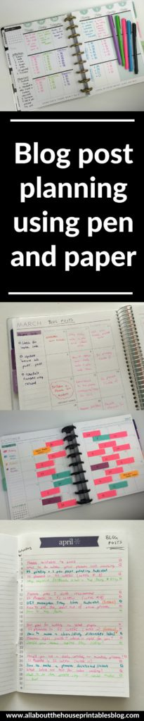 blog post planning using pen and paper empty notebook ideas color coding content planner sticky notes organizing plan with me
