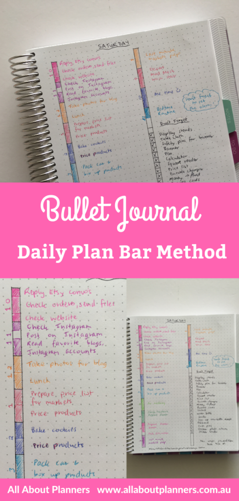 bullet journal daily plan bar method layout ideas inspiration rainbow color coded spread